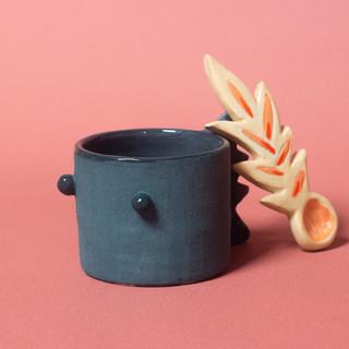 Tasse à café dragono et sa cuillère flamme