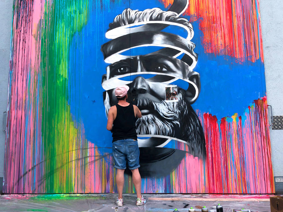 Mr. Pinkbrush Street Art