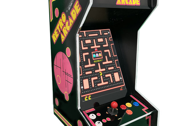 Tabletop Retro Black Arcade Machine | Lit Marquee | 412 Games