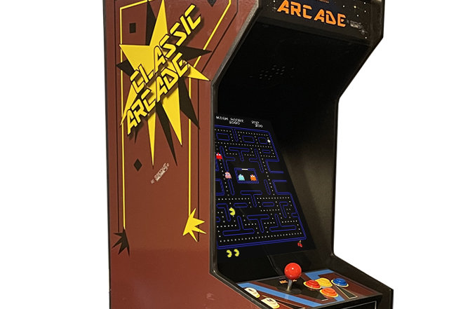 Tabletop Brown Classic Arcade Machine | Lit Marquee | 60 Games