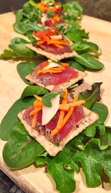 Seared Tuna atop Sesame Crackers.