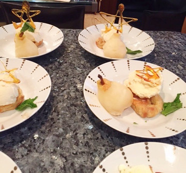 Poached Champagne Pear Dessert.
