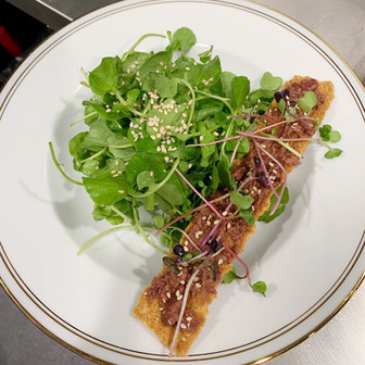 KETO Starter Salad of Micro Herbs and Sesame Cracker