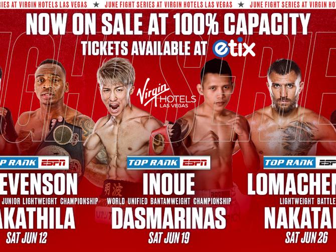Full Capacity Now Permitted in Las Vegas: Top Rank Host Cards in June