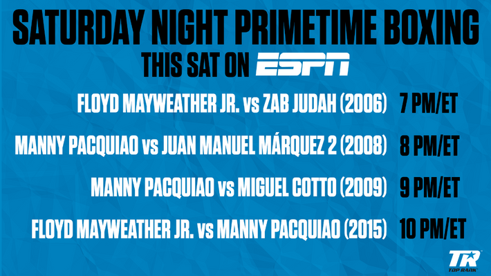 ESPN to Air Encore Floyd Mayweather Jr. and Manny Pacquiao Bouts