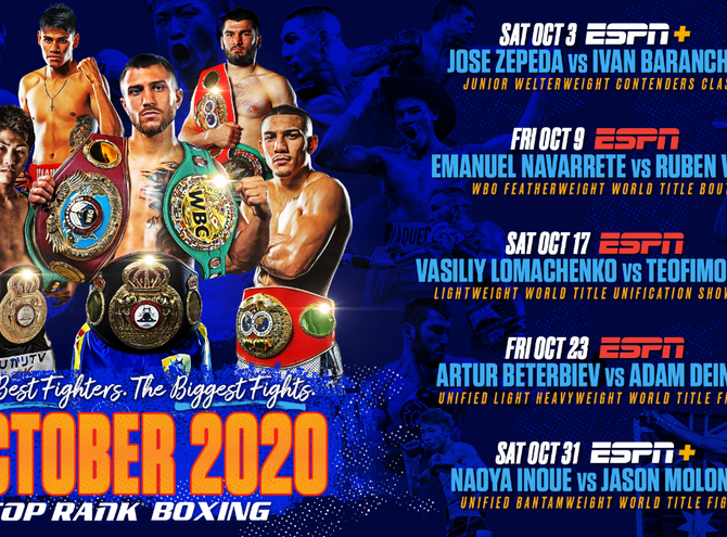 Lomachenko Lopez/Top Rank Fall Schedule