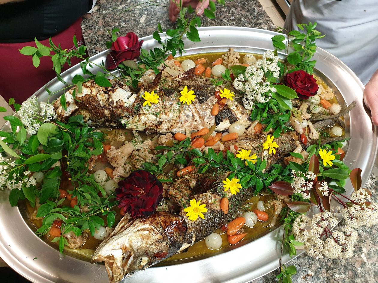 Pesce al forno con verdure