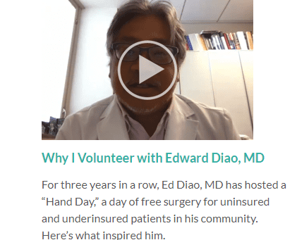 Edward Diao, M.D. is featured in a video for the American Foundation of Society of the Hand to promo
