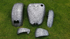 snakeskin over silver bike parts.jpg