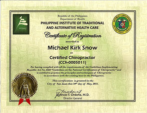 certified to practice chiropractic on Mindanao