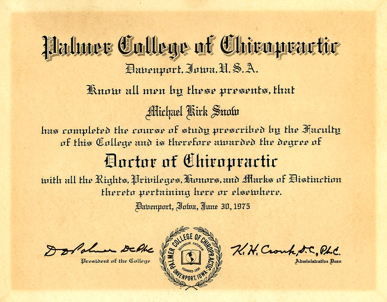 Palmer College of Chiropractic certificate