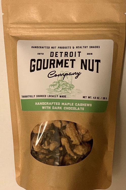 Handdcrafted Maple Cashews with Dark Chocolate - 4.6 oz. bag