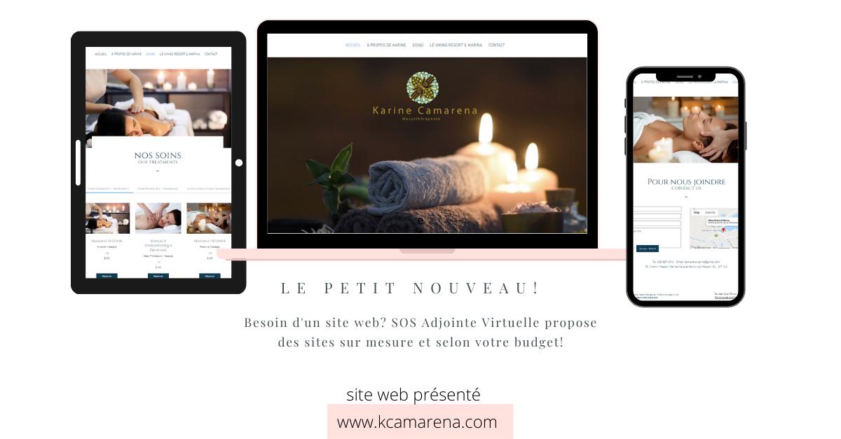 Création du Site Web pour Karine Camarena, Massothérapeute