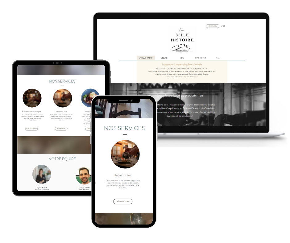 Création du site web pour le restaurant La Belle Histoire