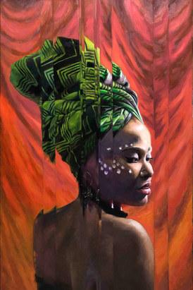 Mujer con turbante verde