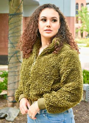 Olive green faux fur jacket
