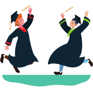 Happy students graduating and achieving their goals