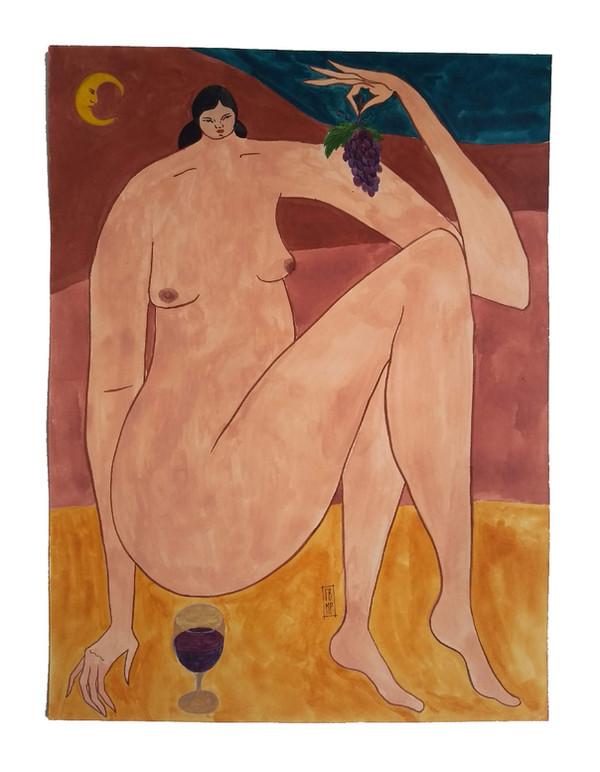 Mulher com uvas e vinho