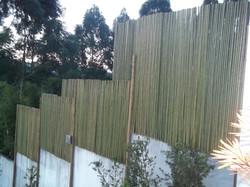 paineis bambu em cima do muro