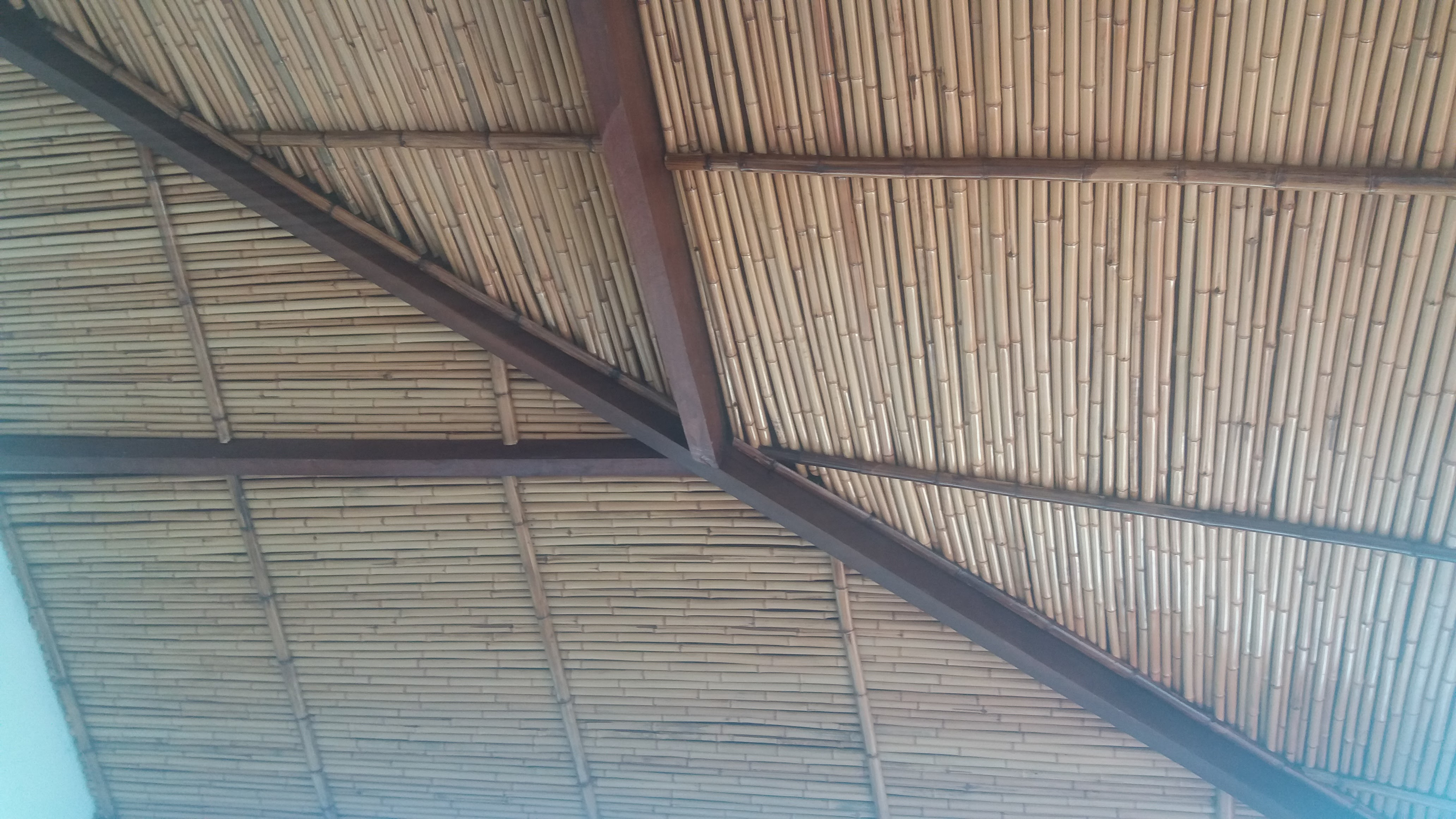 rebaixamento de teto de bambu