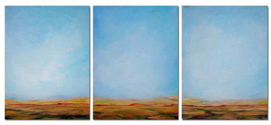 Triptych landscape blue vista
