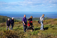 Walkers on Gallax Hill, Dunster