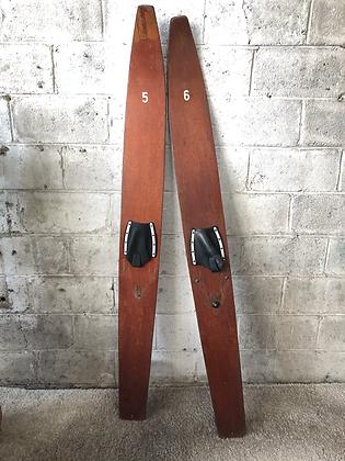 Paire de skis nautique en bois - 782