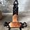 Thumbnail: Chaise tripode en bois sculpté, peau de vache - C36