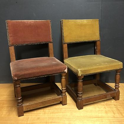 Paire de chaises en  bois/velours - 276