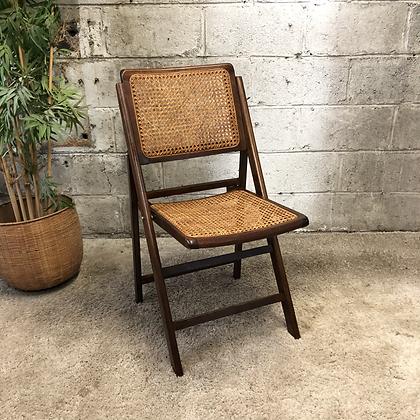 Chaise pliante bois et cannage - S932