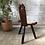 Thumbnail: Chaise tripode en bois sculpté, peau de vache - C37
