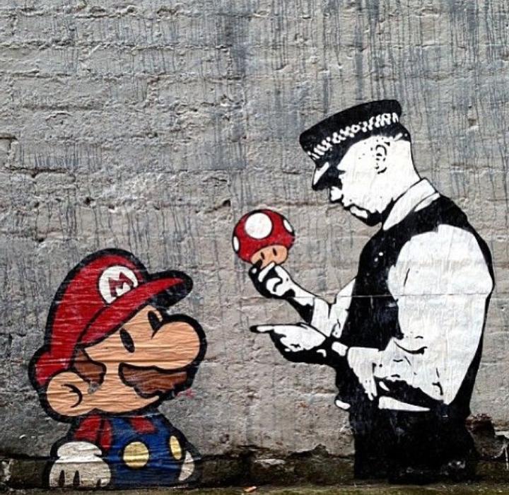 Super Mario Mushroom Cop by Banksy