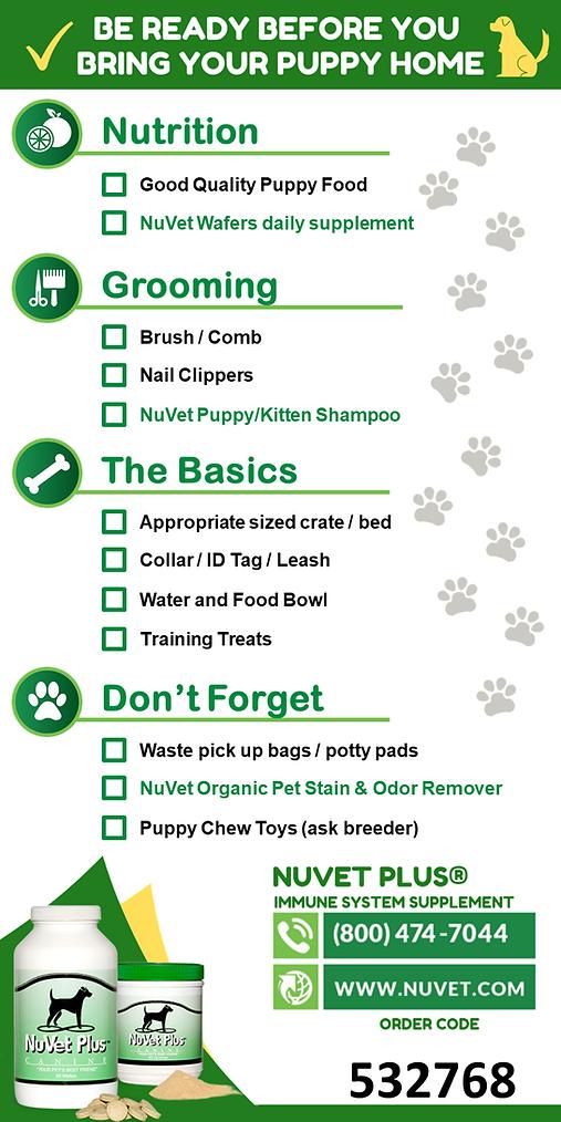 NuVet New Puppy Checklist