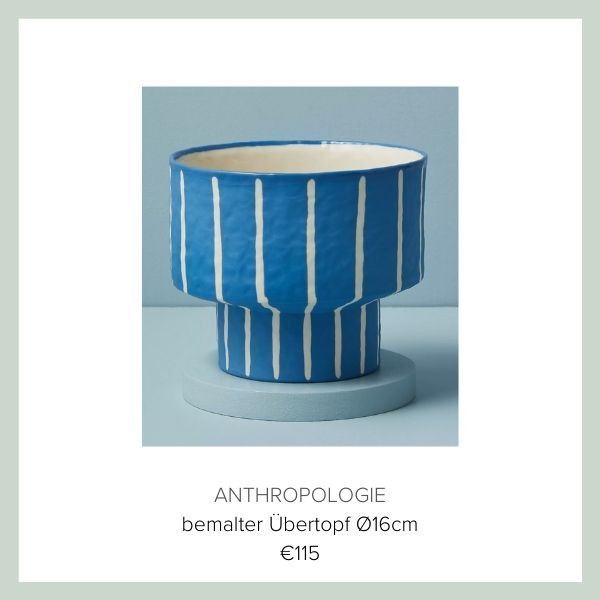 Anthropologie Blumentopf blau