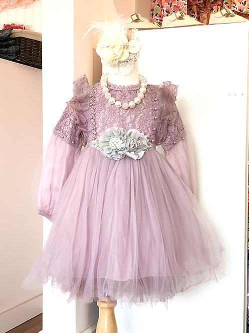 Lavender Lantern Sleeve Dress