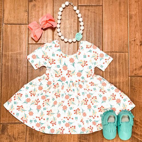 Coral Charm Twirl Dress