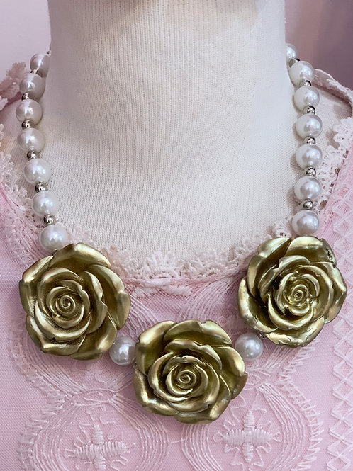 Gold Flower Bubblegum Necklace