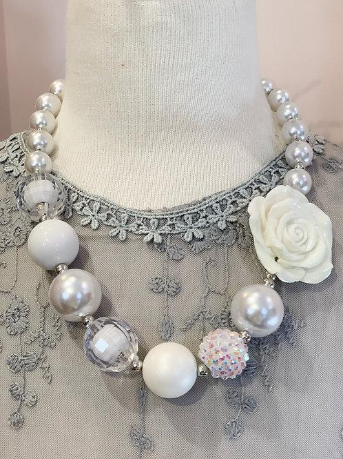 White Flower Bubblegum Necklace