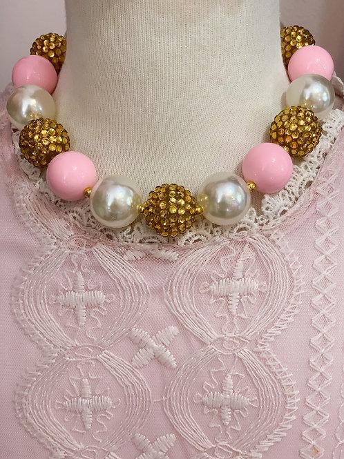 Gold, Pink, & Ivory Bubblegum Necklace