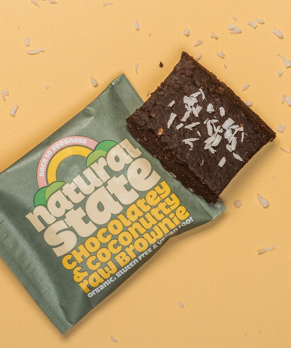 Natural State raw cacao brownie with coconut