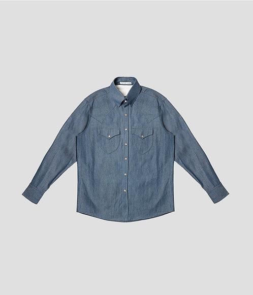 Western Denim Shirt (Classic Blue)