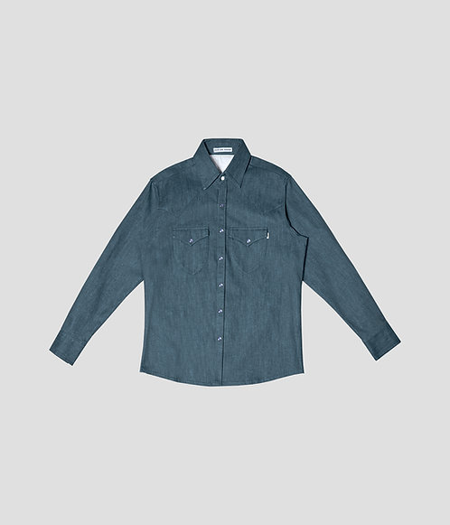 Western Denim Shirt (Jade Blue)
