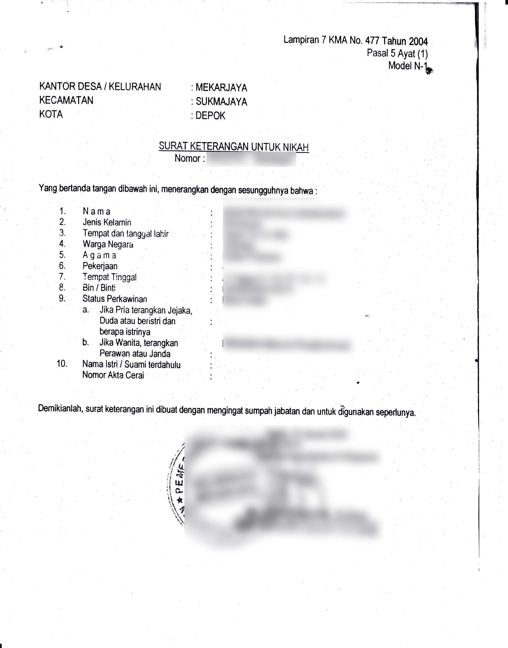 Surat Keterangan Nikah N1 N2 N4