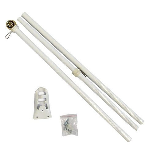 6ft Steel White Flag Pole (Ball Top)