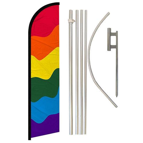 Rainbow Windless Banner Flag & Pole Kit