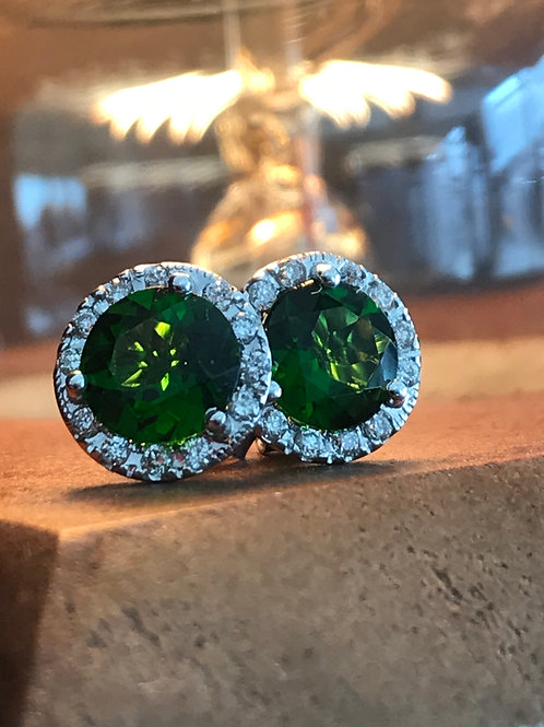 14k White Gold Lab Created Emerald & Diamond Halo Earrings