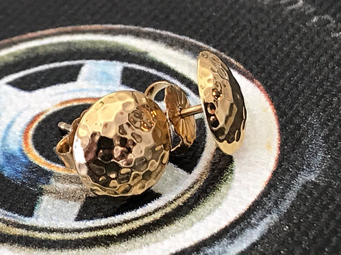 14k Yellow Gold Hammered Dome Earrings