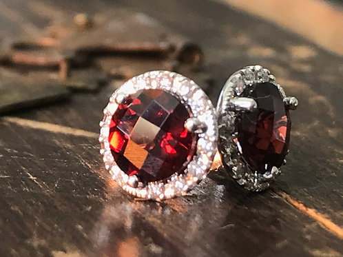 Round Garnet and Diamond halo Earrings