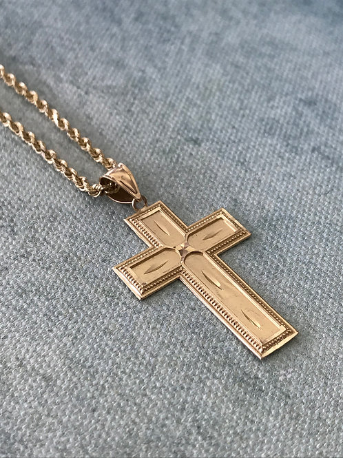 14k Yellow Gold Solid Rope Chain & Cross