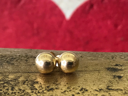 14k yellow gold ball earring